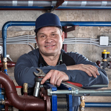 smiling tradesman