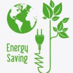 Energy saving illustration with green plant