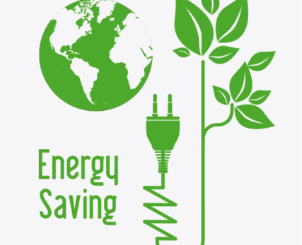 Energy saving illustration with green plant